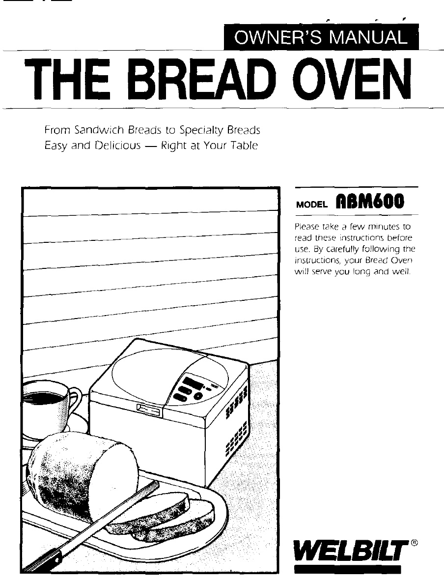 WELBILT BREAD MACHINE MANUAL ABM600 PAGE 1